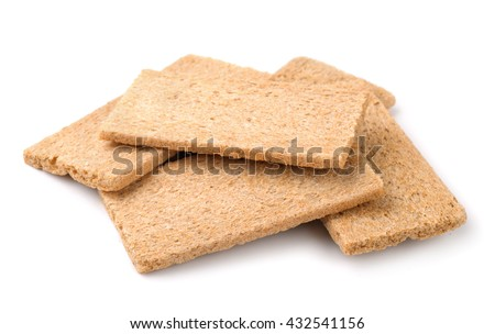 Group of crispbreads isolated on white - stock photo