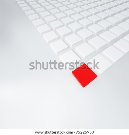 group of cubes of white and red color on light background - stock photo