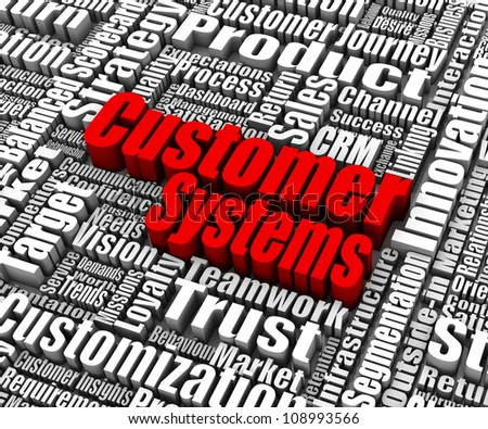 Group of customer systems related words. Part of a business concept series. - stock photo