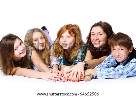 Group of cute, attractive and happy kids posing on white background - stock photo