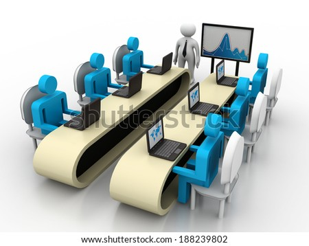 Group of 3d Business People Working Together in Office - stock photo