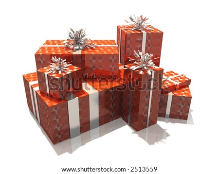 group of 3d gift on white background - stock photo