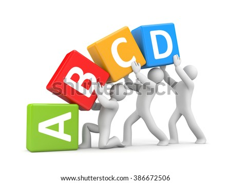 Group of 3D people holding toy blocks with alphabet
