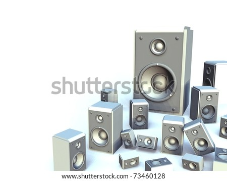 Group of 3D White Speakers on White Background