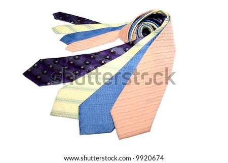 Group of different coloured ties - stock photo