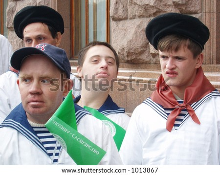 group of disabled persons - stock photo