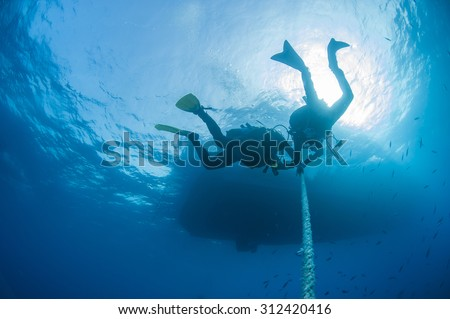 Group of divers decompressing underwater on a rope in open water - stock photo