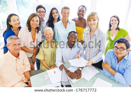 Group of Diverse Business Colleagues Smiling - stock photo