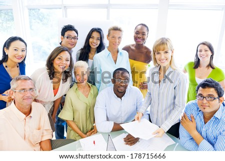 Group of Diverse Business Colleagues Smiling at Office - stock photo
