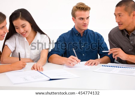 Group of diverse business people workplace - stock photo