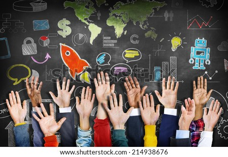 Group of Diverse Colorful Hands Raised with Symbols - stock photo