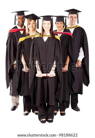 group of diverse graduates full length portrait on white - stock photo