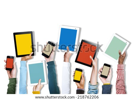 Group of Diverse Hands Holding Digital Devices - stock photo