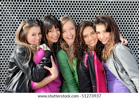group of diverse mixed race or ethnic teenagers - stock photo