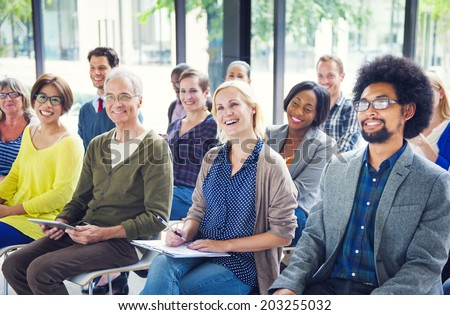 Group of Diverse Multiethnic Cheerful Audience - stock photo