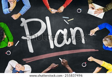 Group of Diverse Multiethnic People Planning - stock photo