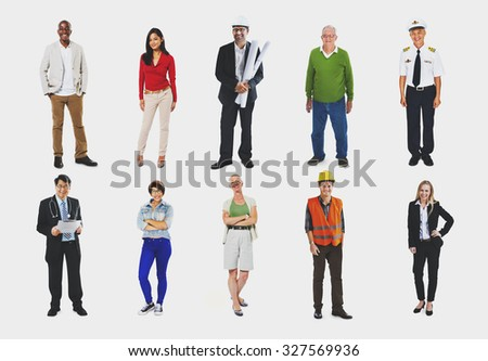 Group of Diverse Occupation Cheerful People Concept