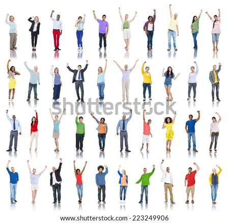 Group of Diverse People Hands Raised Celebrating - stock photo