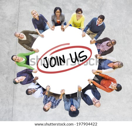 Group of Diverse People In a Circle Inviting - stock photo