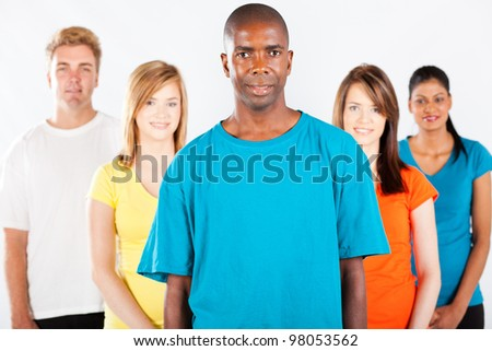 group of diverse people on white background - stock photo