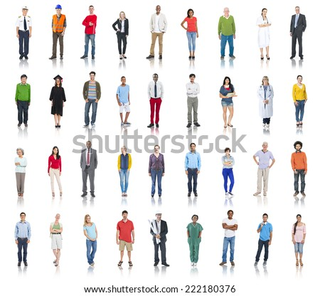 Group of Diverse People with Different Occupations - stock photo