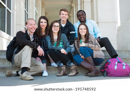 Group of Diverse Students Outside on Campus