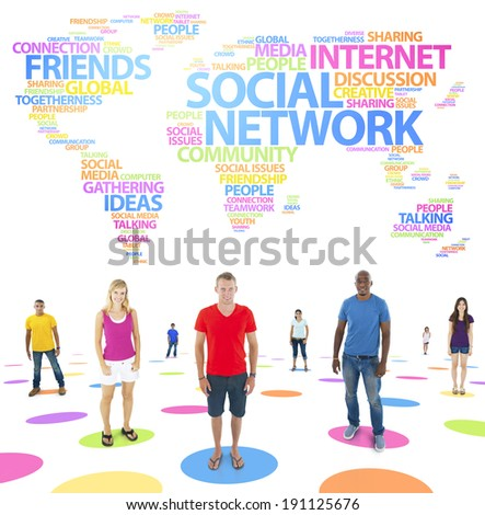 Group of diverse young people standing for different global issues. - stock photo