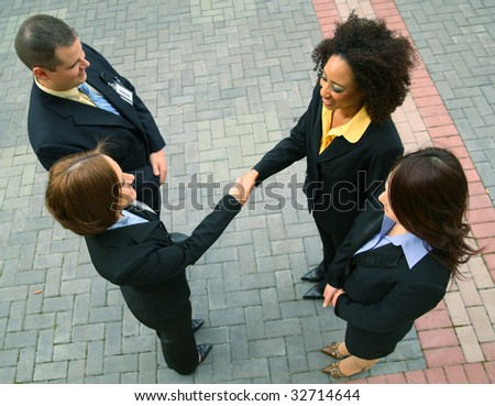 group of diversity business people have a business deal. caucasian, african american, asian