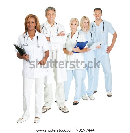 Group of doctors and surgeons isolated on white background - stock photo