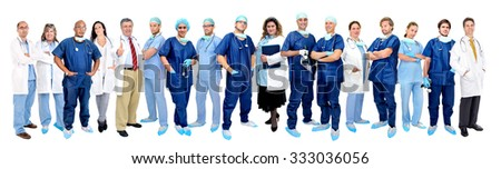 Group of doctors isolated in a white background - stock photo