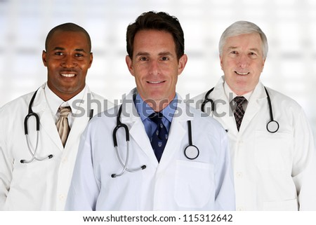 Group of doctors standing in a hospital - stock photo