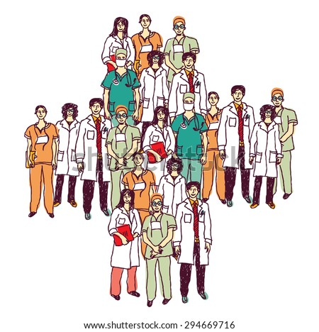 Group of doctors standing like a medical symbol. Color illustration. - stock photo