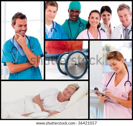Group of doctors working - stock photo