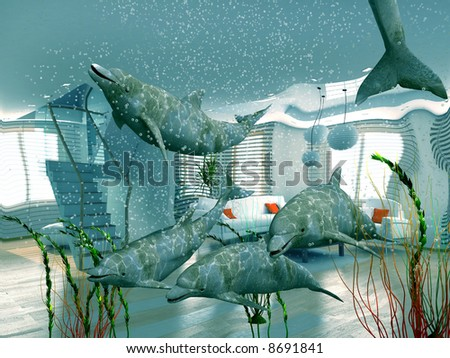 group of dolphins swimming in modern interior (3D) - stock photo