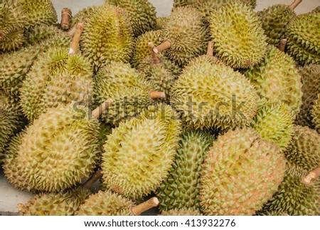 Group of durian in the market.