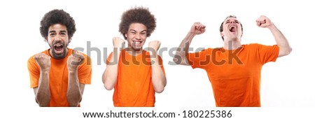 Group of Dutch soccer fans over white background - stock photo