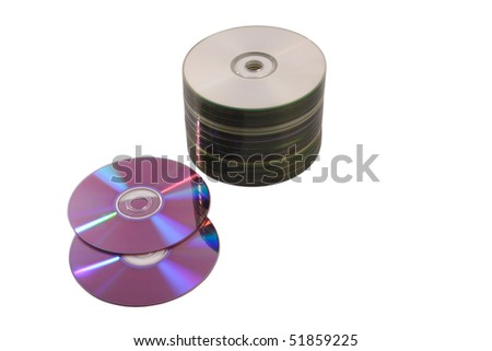 Group of DVD/CD disks  isolated on white background