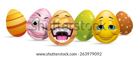 Group of Easter eggs characters - stock photo