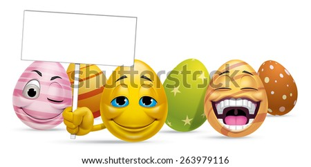 Group of Easter eggs characters and blank sign - stock photo