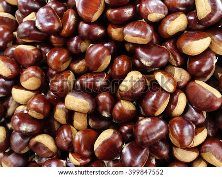 Group of edible chestnuts