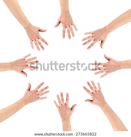 Group of eight hands at the circle together teamwork showing your product isolated on white background with copy space and clipping pass. Community concept.