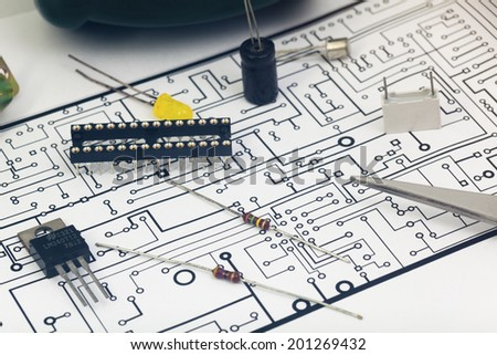 Group of electronic components - stock photo