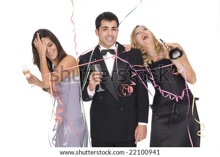 group of elegants friends at a party or a new year party - stock photo