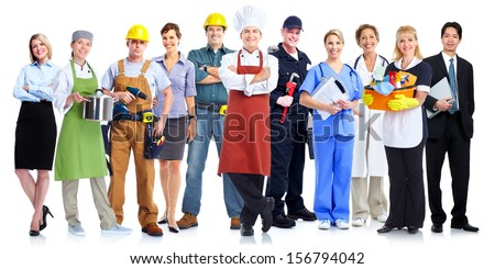 Group of employee people. Business team isolated on white background. - stock photo