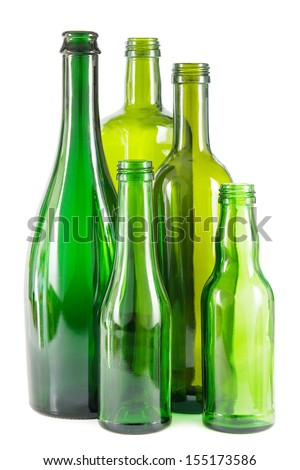 Group of empty green glass bottles on white - stock photo