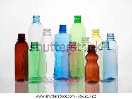 group of empty transparent plastic bottles - stock photo