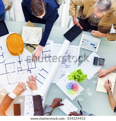 Group of Engineers Planning for a New Project Concept - stock photo