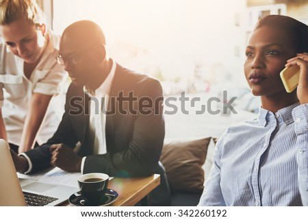 Group of ethnic business people working, young entrepreneurs, multi ethnic. - stock photo