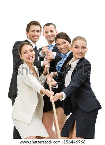 Group of executives pull the rope, isolated on white. Concept of teamwork and promotion - stock photo