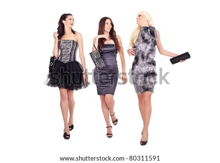 group of fashion women walking and talking on white background - stock photo